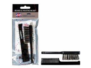 RONNEY Barber Accessories - hřebínek + kartáček na vousy - černý