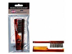 RONNEY Barber Accessories - hřebínek + kartáček na vousy - hnědý