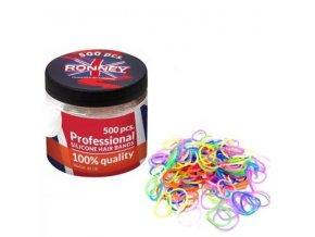 RONNEY Profesionální silikonové gumičky do vlasů 500ks v dóze - barevné