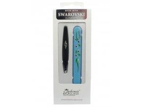 BOHEMIA CRYSTAL Dárkový SET - skleněný pilník s krytkou Blue + pinzeta 97mm Black