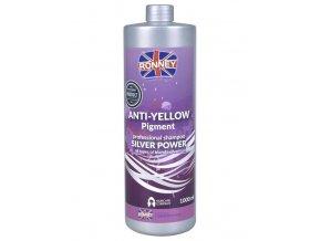 RONNEY Anti-Yellow Silver Power Shampoo 1000ml - šampon na melírované a blond vlasy