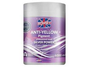 RONNEY Anti-Yellow Silver Power Mask 1000ml - maska proti nežádoucímu žlutému nádechu