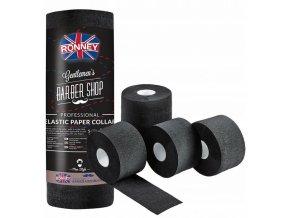 RONNEY Barber Shop Elastic Paper Collar - černý ochranný krepový límec kolem krku - 5ks