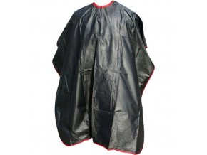 SALON KOMPLET Kadeřnická pláštěnka barvicí černá s červeným okrajem PVC na háčky