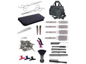 SET Taška XUB LEFT Kadeřnický set pro učně - textilní taška s vybavením pro leváky