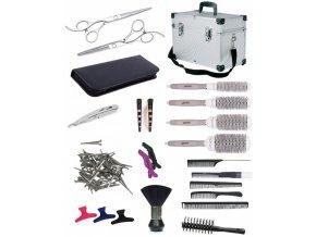 SET Alu kufr XUB LEFT Kadeřnický set pro učně - hliníkový kufr s vybavením pro leváky