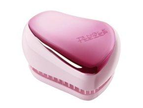TANGLE TEEZER Compact Baby Doll Pink - kompaktní kartáč na vlasy - lesklý růžový