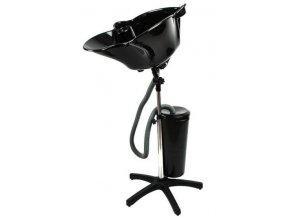 SALON Komplet Přenosná kadeřnická mycí mísa na stojanu s 10l nádržkou na vodu - černá