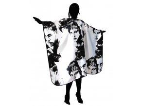 DUKO 9082 Luxusní kadeřnický střihací plášť saténový - černobílý