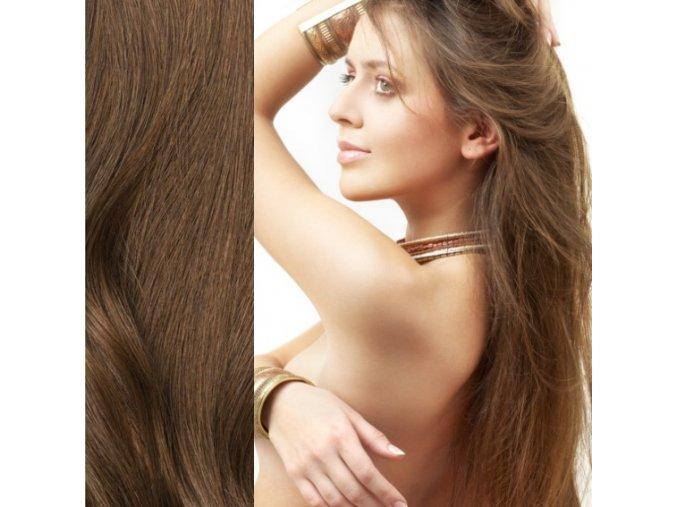 Prodloužení vlasů levně - barva hnědá.