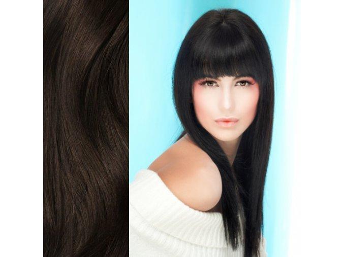 Prodloužení vlasů, barva přírodní černá.