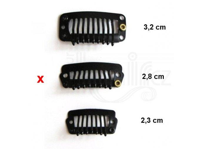 CLIP IN sponky, barva černá 2,8 cm.