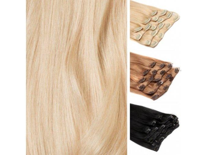 CLIP IN vlasy blond platina