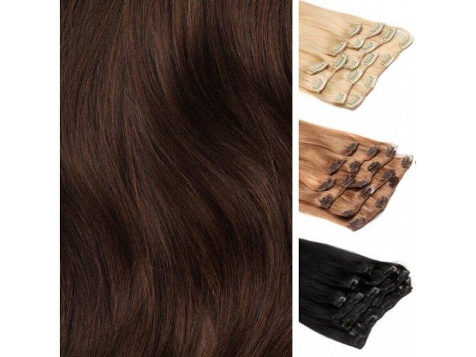 CLIP IN vlasy hnědá tmavá