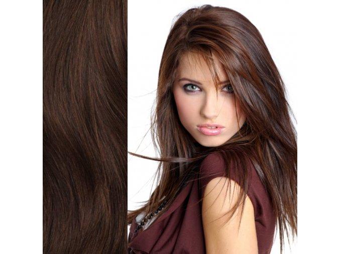 Prodloužení vlasů levně hnědá tmavá