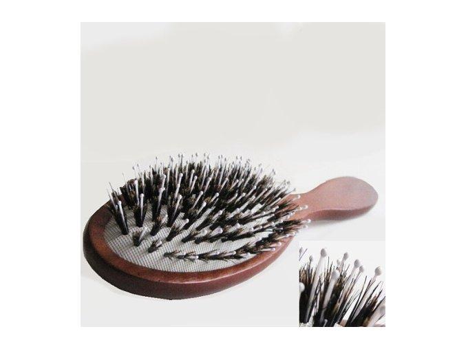 Kartáč z přírodních štětin na paruky a prodloužené vlasy