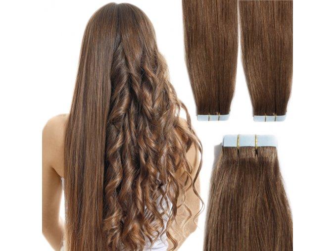 prodluzovani vlasu tape in hneda