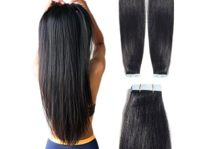 Vlasové pásky - přírodní černá, 40 cm.