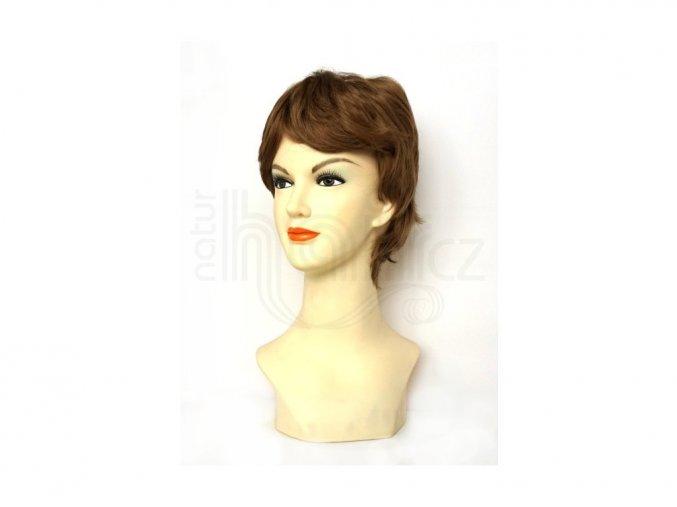 paruka z umělých vlasů hnedá 14
