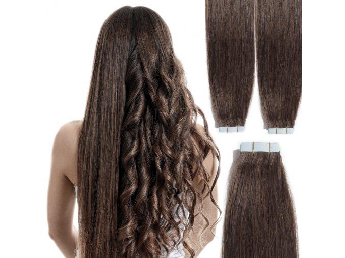 Vlasové pásky - hnědá, 50 cm.