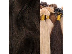 Pramínky indických vlasů - barva hnědá přírodní délka 50 cm zakončení keratin