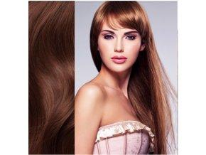Prodloužení vlasů, barva mahagon.