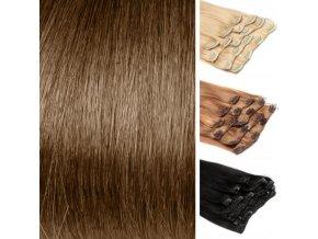 CLIP IN vlasy hnědá světlá