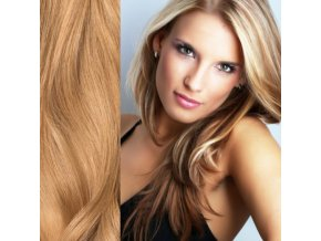 Prodloužení vlasů, barva blond zlatá.