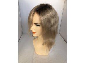 Paruka z pravých vlasů CHEMO - CHAMPAGNE LIGHT / TMAVÝ ODROST 20 cm -sestříhaná