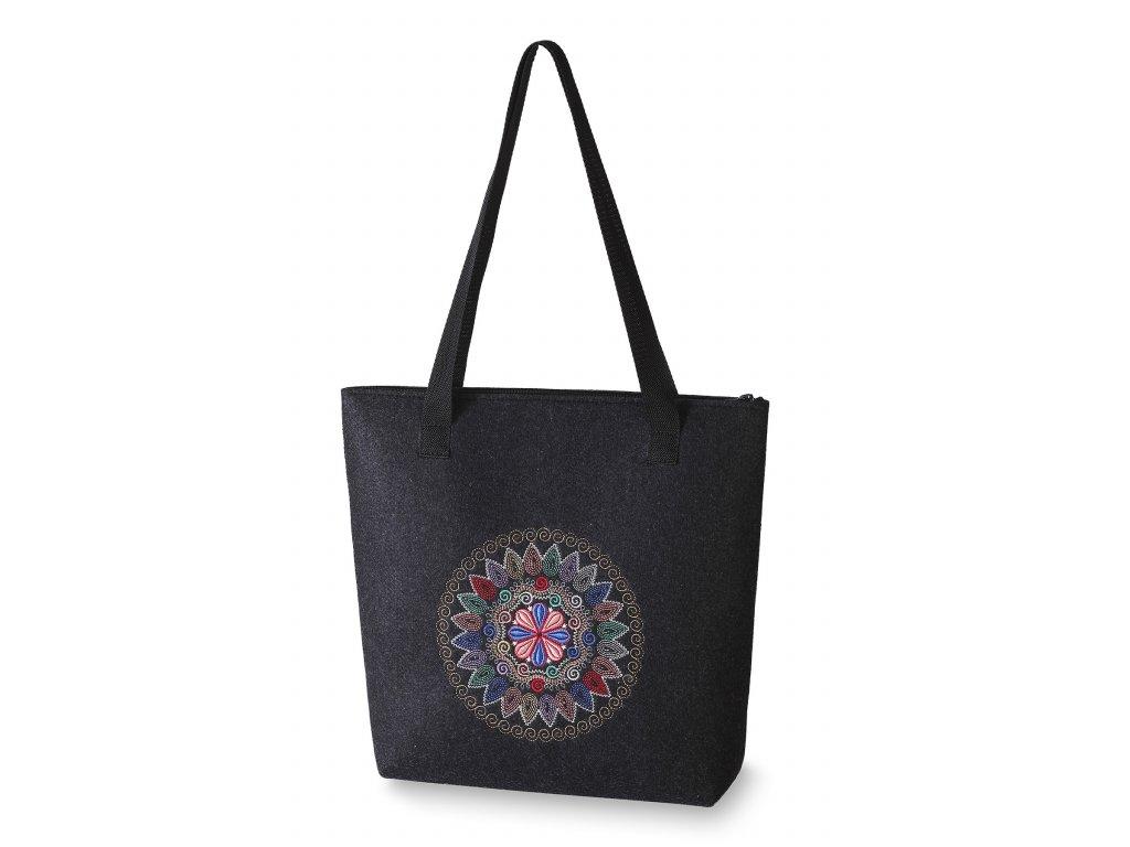 7 filcová kabelka velká černá barevný kruh