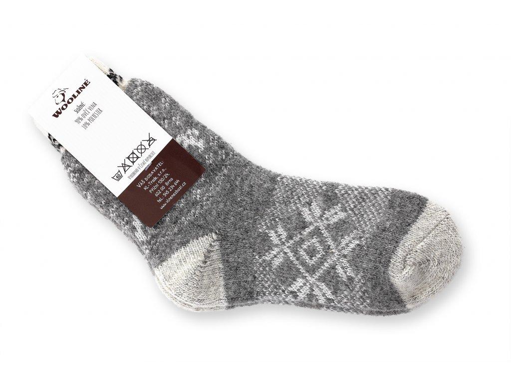 ponožky měkká vlna šedé s hvězdou
