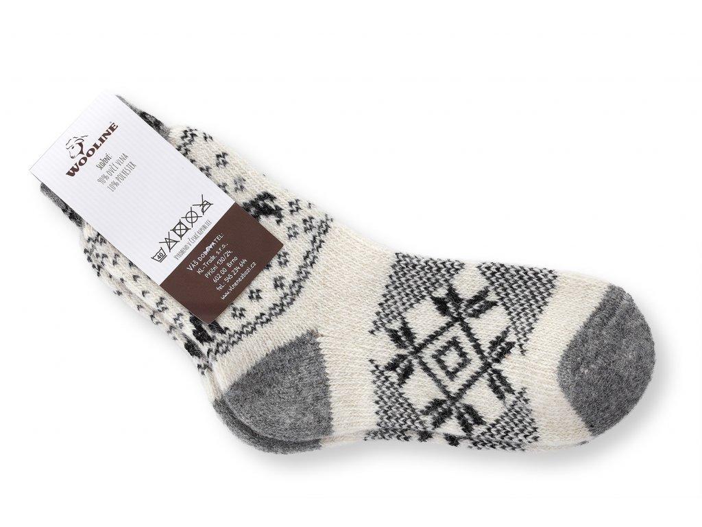 ponožky měkká vlna bílo šedé s hvězdou