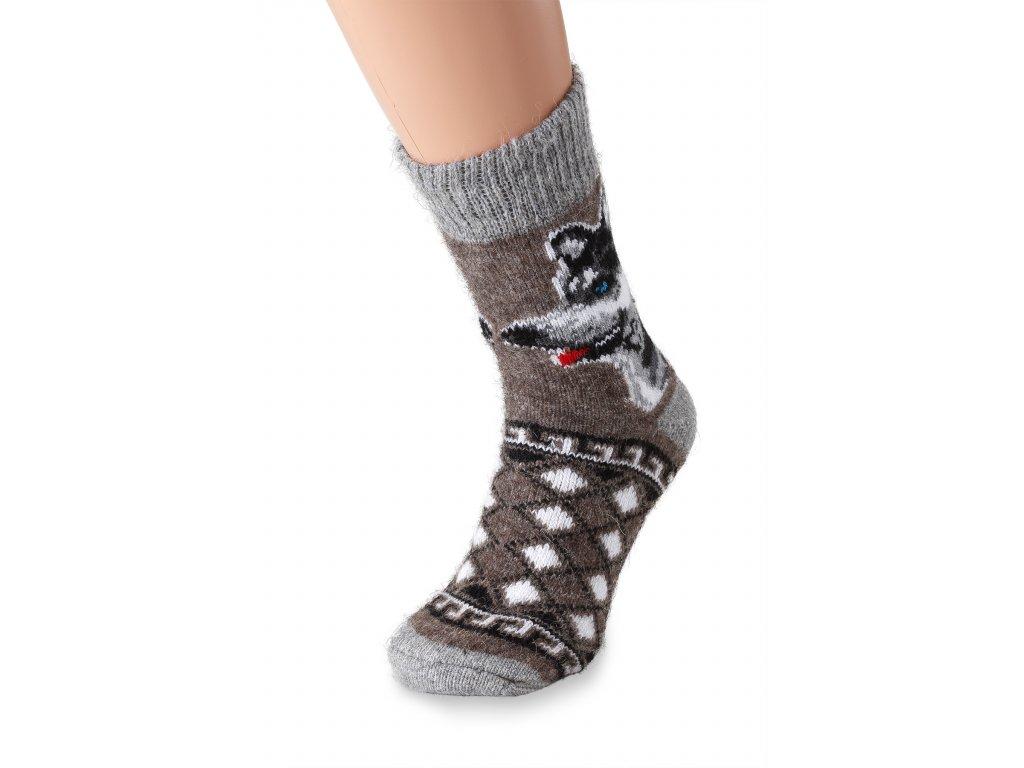 vlněné ponožky hnědý vlk (2)