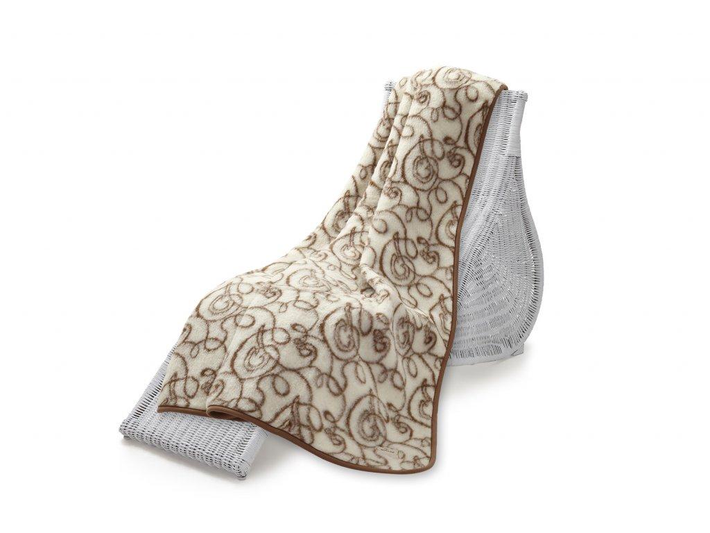 Vlněná deka Hit Jacquard, 140x200 cm, zlatá očka (5)