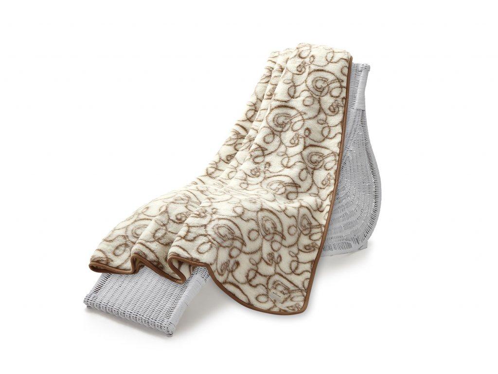 Vlněná deka Hit Jacquard, 200x220 cm, zlatá očka (5)