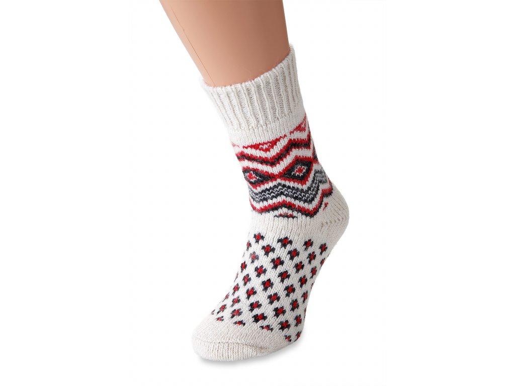 vlněné ponožky červenokrémová (3)