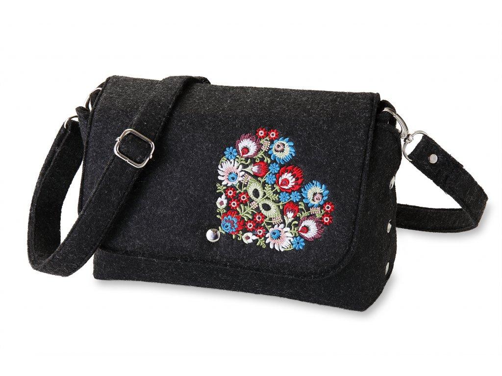 11 filcová kabelka přes rameno černá, barevné srdce