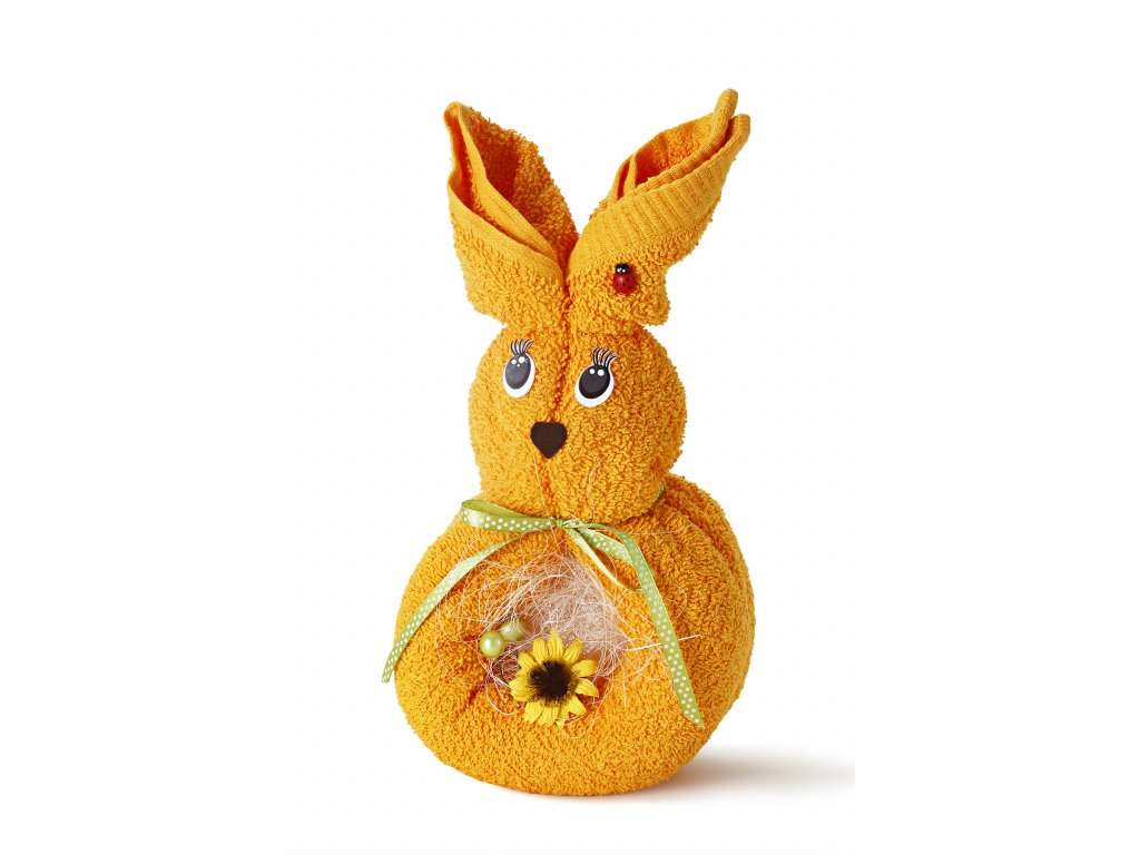 králík z ručníků oranžový