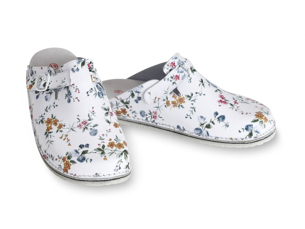 pantofle kožené s květy
