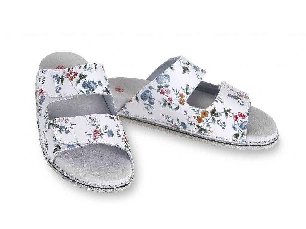 Pantofle ortopedické kožené s květy, otevřená špička, dámské  zdravotní obuv!