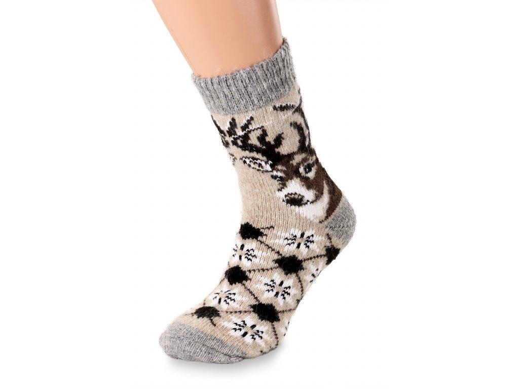ponožky hnědé s jelenem (2)