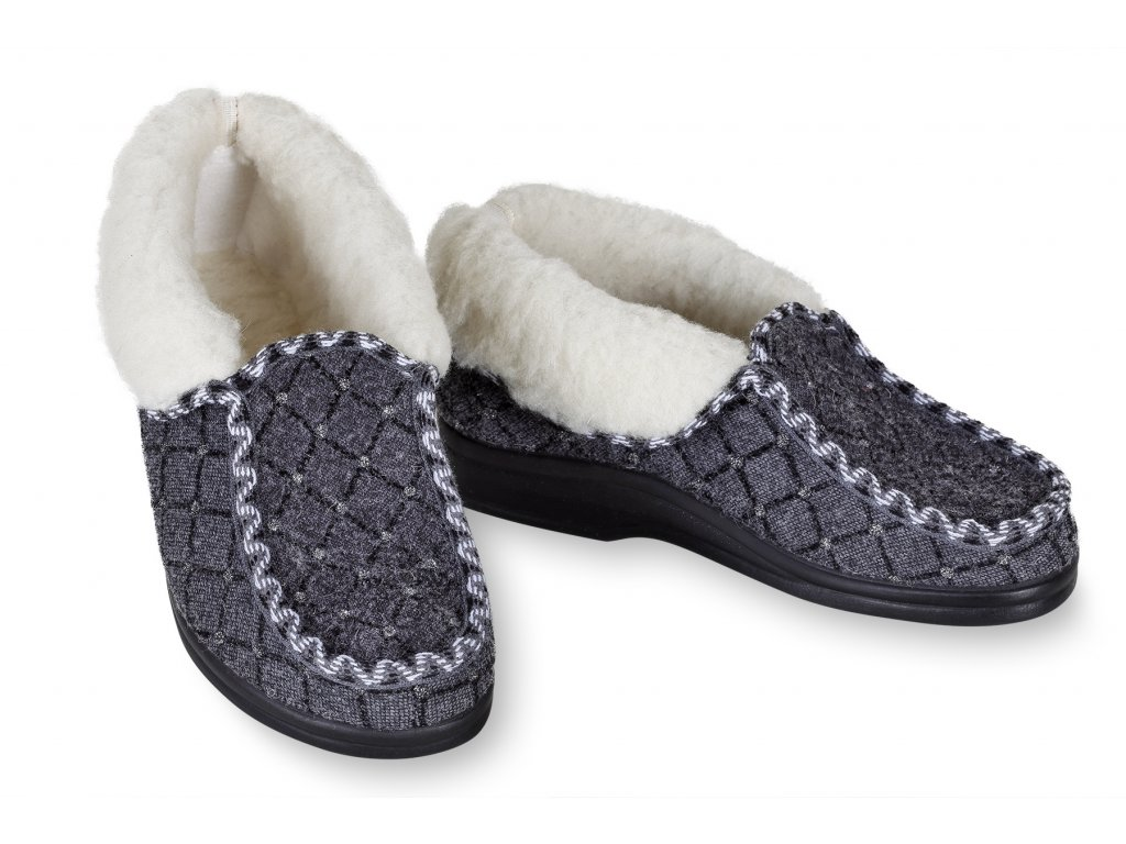 Dámské mokasínové boty šedé s kamínky