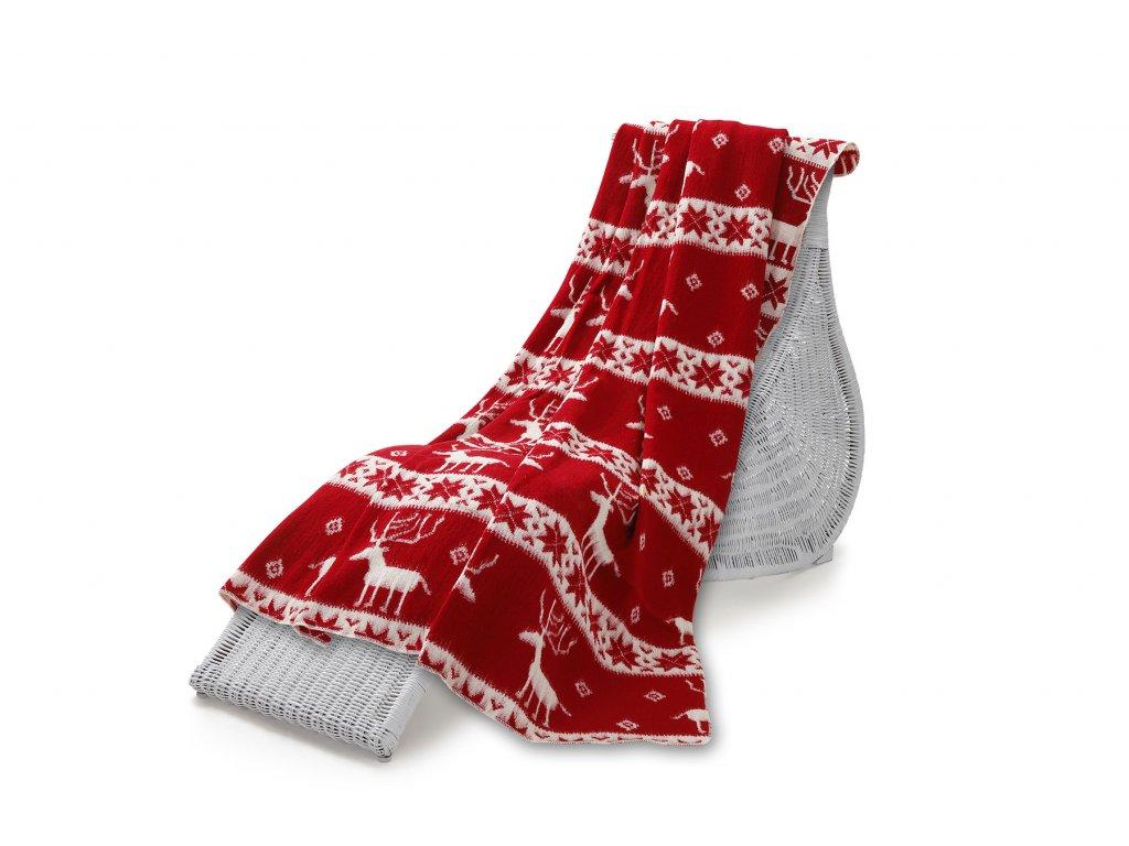 Vlněná deka Nord červená 200 x 220 cm (5)