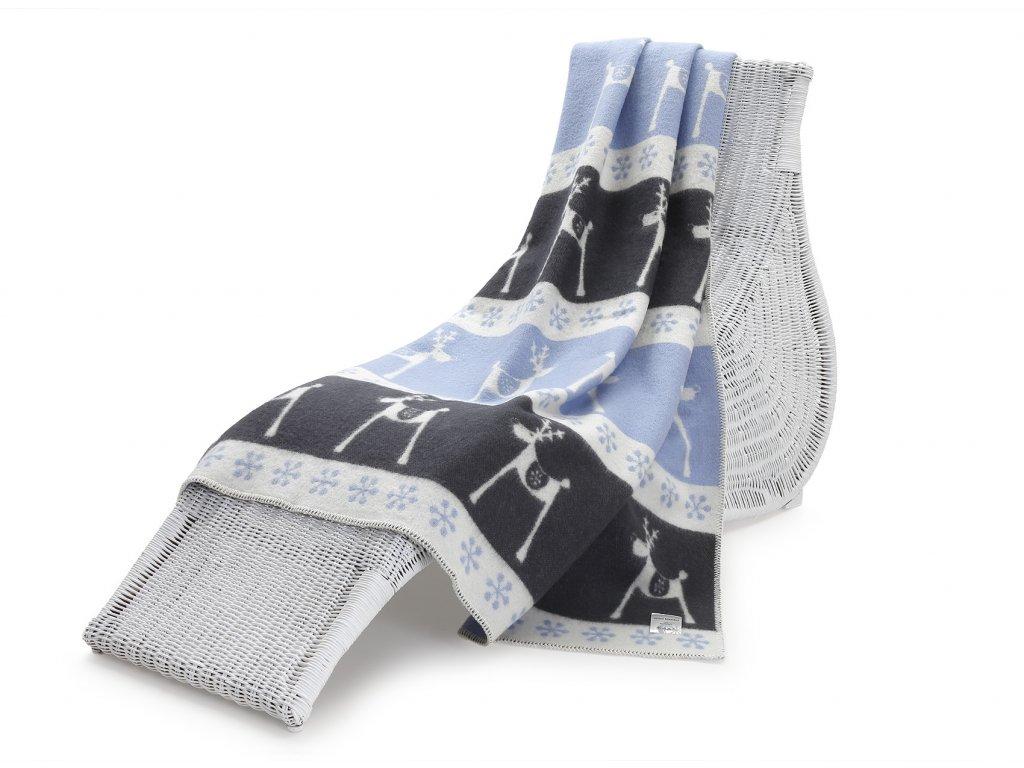 vlněná deka sob modročerný 1