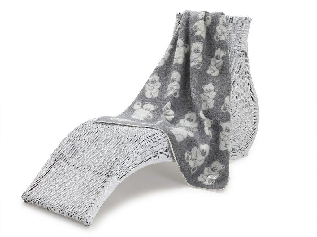 vlněná deka pro děti medvídek šedý 1