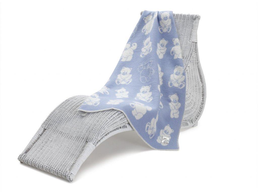 vlněná deka pro děti medvídek modrý 1