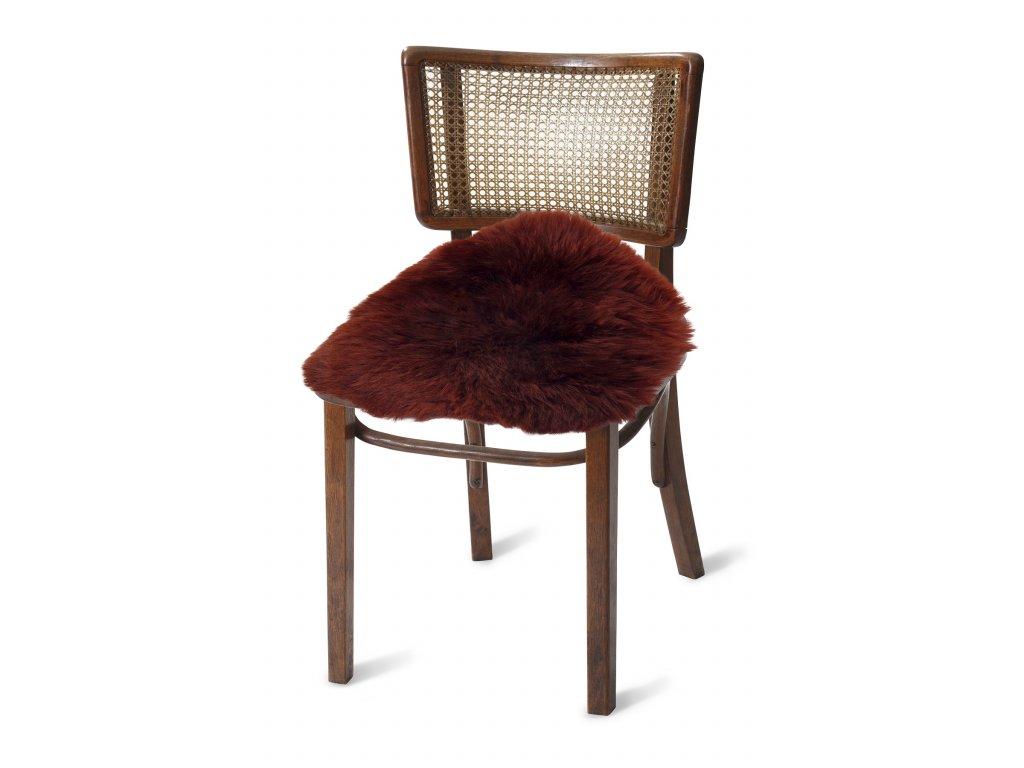 Podsedák na židle z ovčích kůží bordo 4