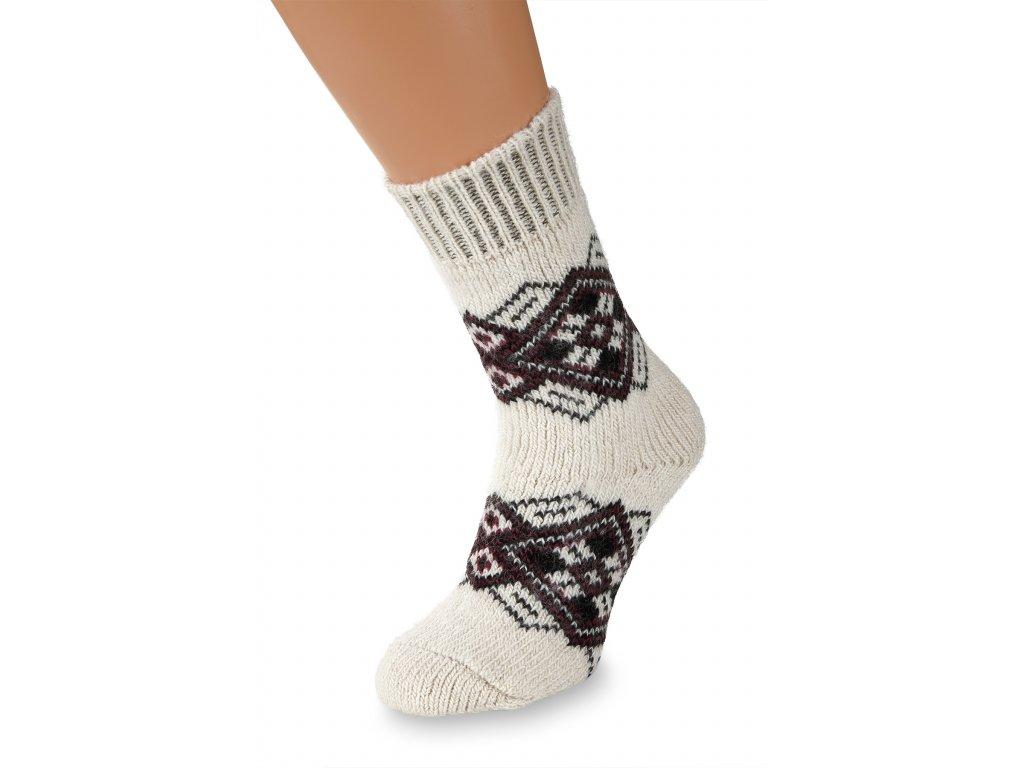 Vlněné ponožky 100% vlna, fialovobílý motiv 2