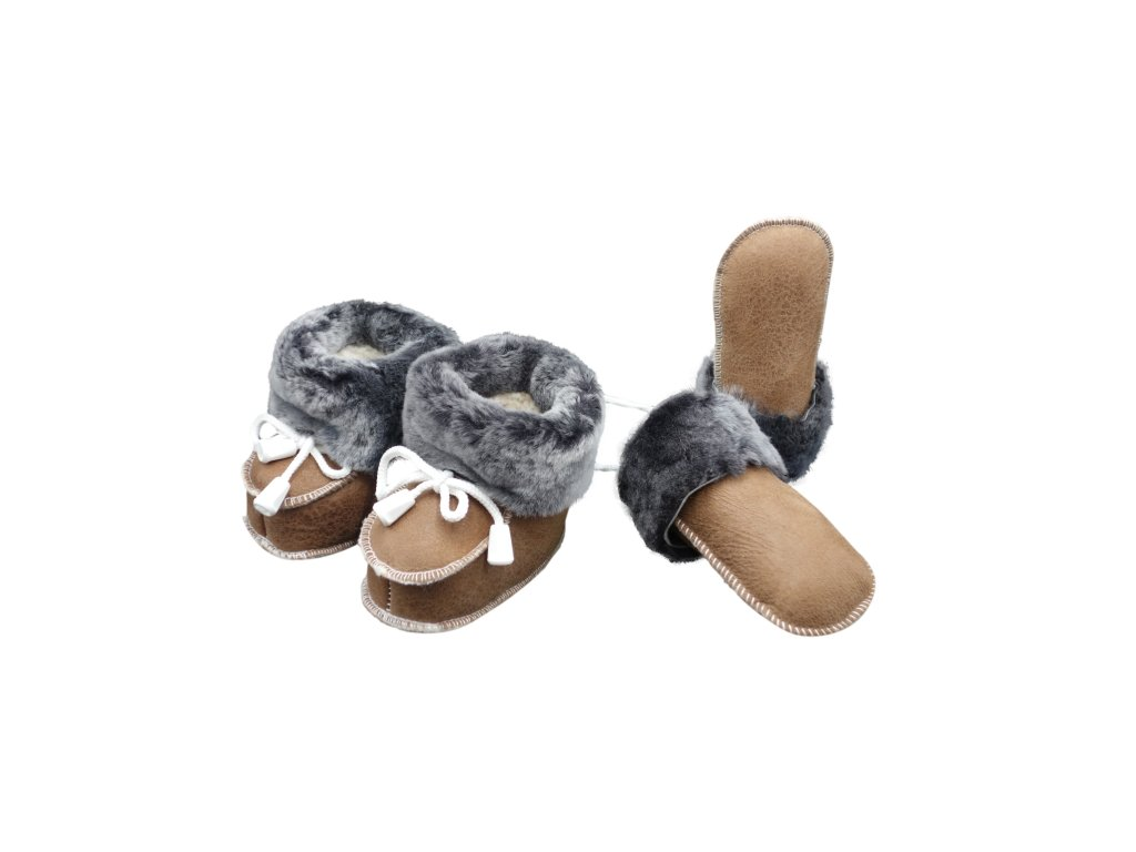 Kožené botičky a rukavičky - set, tmavě hnědý