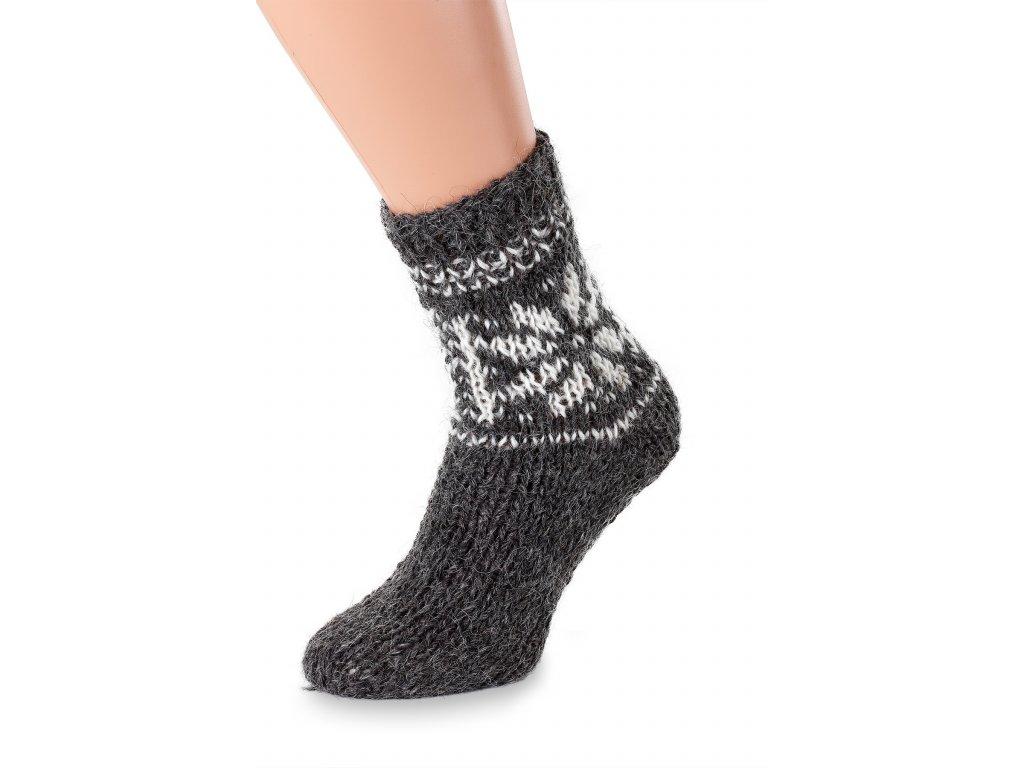 vlněné ponožky tmavé s vločkou
